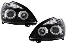 2 FEUX PHARE AVANT ANGEL EYES FOND NOIR RENAULT CLIO 2 PHASE 2 06/2001 - 09/2005