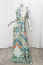 ROBERTO CAVALLI Womens Green Floral Knit V-Neck Ruched Sheath Maxi Dress XL NEW