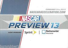 2013 NASCAR PREVIEW '13 DATED FEB 9TH NASCAR ACCELERATION POSTCARD B/B