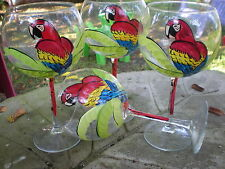 Red Parrots/Palm 19 Ounce Balloon Goblets/ Set/4(special request for tsrenie