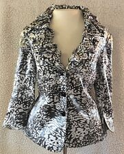 Victor Costa Size 12 Jacket 3/4 Sleeve Ruffle Collar Shimmery Gray White