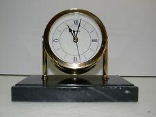 Elegant Chelsea Chatham Brass Desk Clock On Black Marble Base