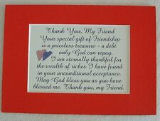THANK YOU FRIEND Gift Priceless Treasure FRIENDSHIP God Bless verse poem plaques