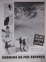 PUBLICITÉ 1933 SPORTS D'HIVER EN SUISSE AROSA ÉCOLE DE SKI - PATINAGE