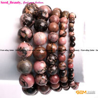 Natural Multi-Color Rhodonite Stone Beads Healing Beaded Elastic Bracelet 7""