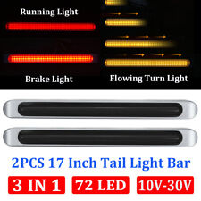 "2pcs Smoke/(Red+Amber) 72 LED 17"" Chrome Truck Trailer Stop Turn Tail Light Bar"