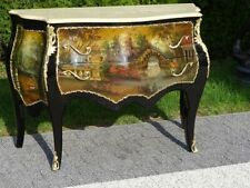 BAROQUE STYLE WOOD / BRASS COMMODE WITH MARBLE TOP #LU49