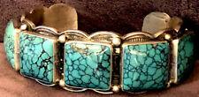 Navajo Paul J Begay Signed Astonishing Top Quality Webbed Turquoise Bracelet