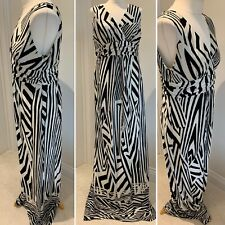 Debut Black White Sleeveless Maxi Dress UK 16 Empire Line Summer Party Holiday