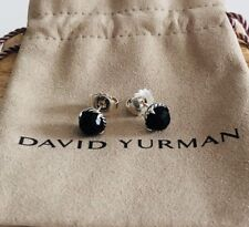 David Yurman Silver Stud Chatelaine Earrings with Black Onyx NEW Authentic