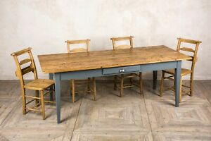 LARGE HANDMADE 3M PINE FRENCH FARMHOUSE TABLE WITH A PAINTED BASE THE PROVENCE