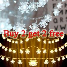 Christmas 40 LED Curtain Window Snowflake String Fairy Lights Waterproof Decor