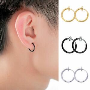 Hoop Retractable Earrings Style Men Women Hip-hop No Need Piercing