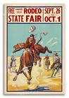 State Fair Rodeo - 1930s Cowboy Steer Riding Western Poster - 16x24