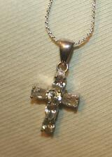 Delightful Petite Small Prong-Set White Rhinestone Cross Silvertone Necklace +++