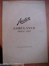 AUSTIN AMBULANZA LISTINO novembre XIX 1934. 20,18,16 & 12hp