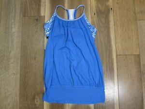 Lululemon Women's Blue/White Solid/Floral Built in Sports Bra Tank Top Sz 6