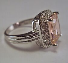 Luxurious .925 Sterling Silver Pink Sapphire Cocktail Ring Sz 9