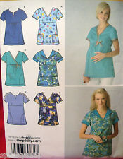 SEWING PATTERN Simplicity 3645 OOP SCRUBS REGULAR and MATERNITY sz 6-14