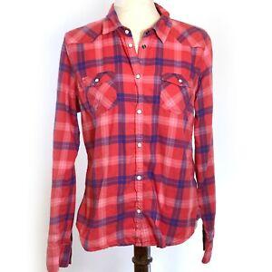 American Eagle Flannel Boyfriend Fit Shirt Womens LG Button Up Red Blue Plaid