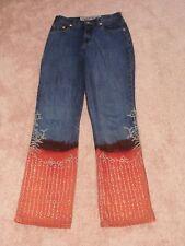 Silver Sequins Parasuco Jeans Beaded Blue & Orange Denim Jeans Sz 29 WOW Unique