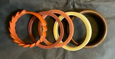 5 Piece Lot of Vintage Costume Jewelry Resin Plastic Bangles Stacking Bracelets