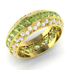 3.50 Ct Peridot Natural Diamond Wedding Ring Princess 14K White Gold Size M N