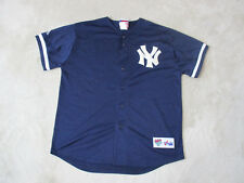 VINTAGE Majestic New York Yankees Baseball Jersey Adult Large Blue SEWN Mens 90s