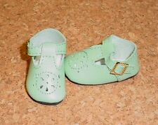 """Doll Shoes, 50mm LIGHT GREEN t-Straps fit P90 Toni. 14"""" Betsy, Hopscotch Hill"""