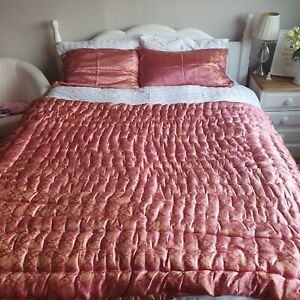 real pakistani BN cotton padded silk and gold thread double bed covers with...