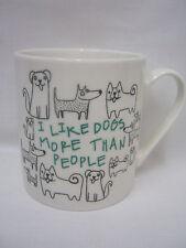 New Creative Tops Fine China Mug Beaker Tea Cup I Like Dogs More Than People