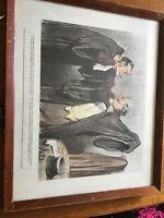 """Vintage Framed Honore Daumier colored Lithograph Print """"Les Gens De Justice"""""""