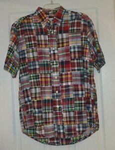 Mens Brooks Brothers Madras Plaid Patchwork Short Sleeve Shirt M Medium