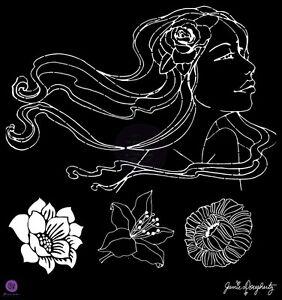 "Prima Marketing 12 x 12"" Bohemian Girl stencil, ""Gardenia"" #980252"