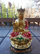 Chinese Buddhism Ksitigarbha Jizo King Buddha God statue 10.5 H