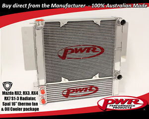 PWR ALUMINIUM RADIATOR & OIL COOLER PACKAGE MAZDA RX2 RX3 RX4 RX7 WITH SPAL FAN