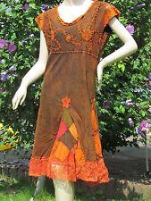 Kleid Hippie Batikkleid Batik Sommerkleid m. Spitze flowerpower 40-42 (9165-3)
