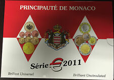 MONACO OFFICIAL BU 2011 5,88 EURO COIN SET, MINTAGE ONLY 7 000 sets, VERY RARE.
