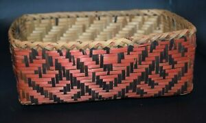 Fine Cherokee Choctaw River Cane Square Basket Native American Basketry