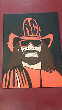 Wwe Macho Man Randy Savage CANVAS TELA DIPINTO A MANO 30x40cm