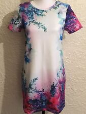 ASOS Floral Dress 4 Petite Small T-SHIRT STYLE Shift Pink White MSRP $98 NWOT