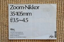 Nikon Zoom-Nikkor 35-105mm f/3.5-4.5 Ai-s instruction manual. 28 pages. 2nd one