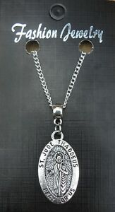 "Oval St Jude Pendant Necklace 18"" or 24"" Inch Judas Apostle Lebbaeus Holy Saint"