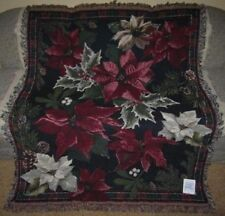 New Poinsettia Bouquet Christmas Holiday Afghan Throw Gift Blanket Holly NIP NWT