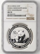 NGC MS70 2012 China Silver Panda Coin 25th Anni Merchants Bank 1oz  COA