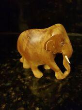 Vintage Light Elephant Carved Wood with tusk.