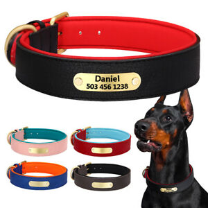 Personalised Dog Leather Collars Soft Neoprene Padded Name ID Tag Engraved S-2XL