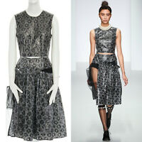 runway SIMONE ROCHA SS14 black laminate floral cotton tulle skirt dress UK10 M