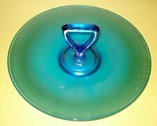 VINTAGE BLUE CARNIVAL GLASS TRAY BEAUTIFUL VICTORIAN DESIGN NR