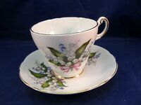 REGENCY TEA CUP AND SAUCER - LILY OF THE VALLEY DECORATION - MADE IN ENGLAND